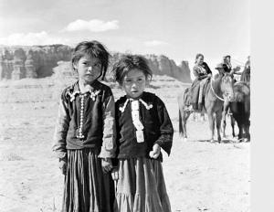 2 Little Navajo Girls At Marble Canyon  Photo Credit: Courtesy Of Muench, Josef Call numberNAU.PH.2003.11.10.1.6895 Repository: Northern Arizona University. Cline Library.