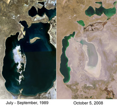 Comparison Showing Dessication Of Lake Aral Photo Credit: Staecker from Wikimedia Commons (original source)